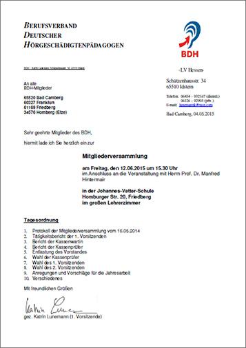 BDH Hessen Mitgliederversammlung 2015 Einladung