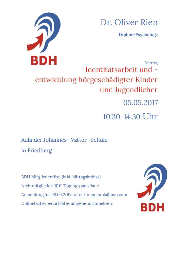 Einladung zur Fortbildung: Identitätsarbeit und -entwicklung hörgeschädigter Kinder und Jugendlicher mit Dr. Oliver Rien