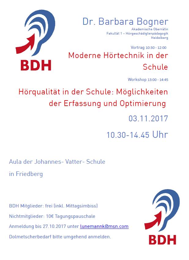 """Einladung: Frau Dr. Barbara Bogner: """"Moderne Hörtechnik in der Schule"""" und """"Hörqualität in der Schule: Möglichkeiten der Erfassung und Optimierung"""""""