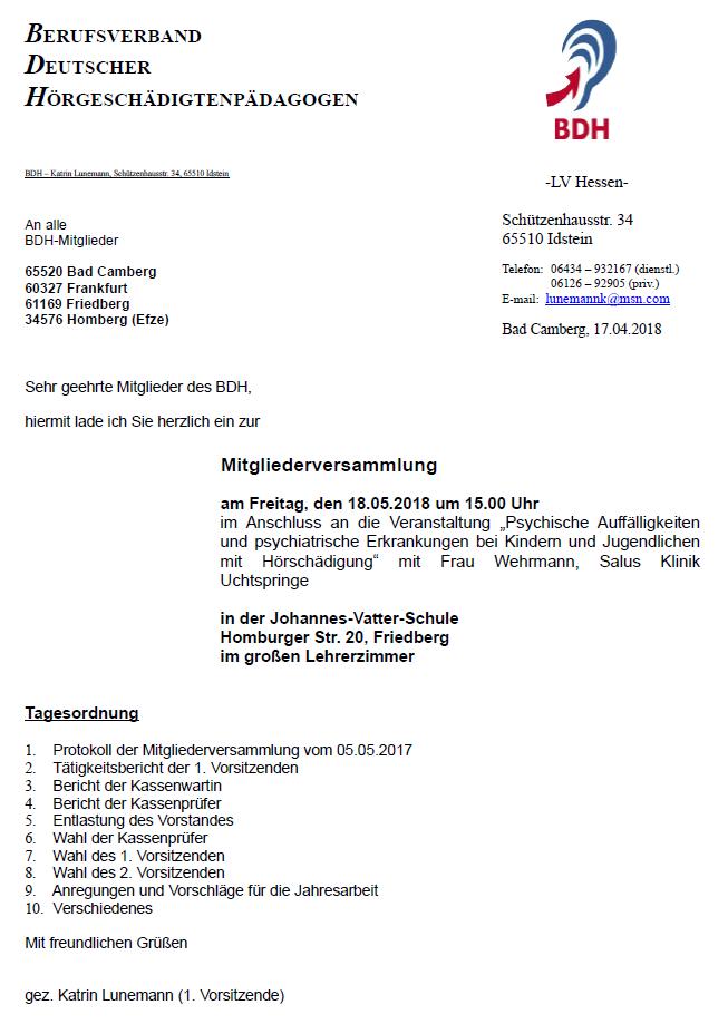 Einladung zur Mitgliederversammlung 2018 am 18.05.2018 um 15.00 Uhr in der Johannes-Vatter-Schule Homburger Str. 20, Friedberg im großen Lehrerzimmer.