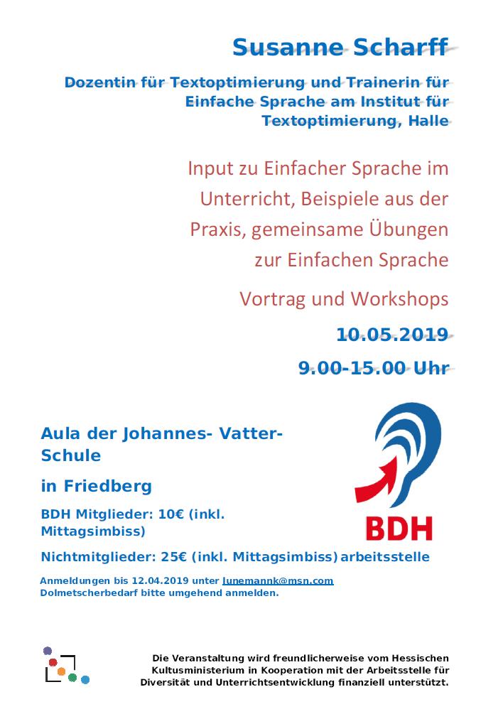Susanne Scharff: Input zu Einfacher Sprache im Unterricht, Beispiele aus der Praxis, gemeinsame Übungen zur Einfachen Sprache - Vortrag und Workshops