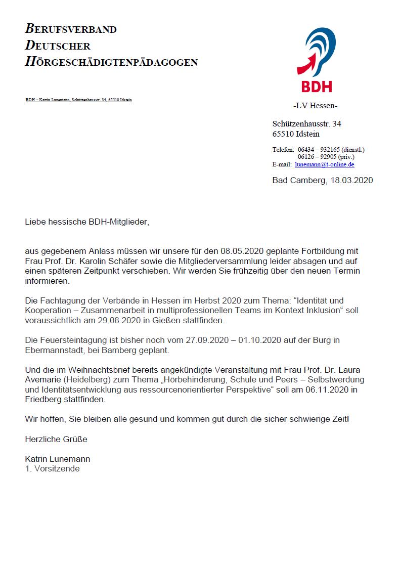 Verschiebung Mitgliederversammlung + Fortbildungen 2020 - Informationen