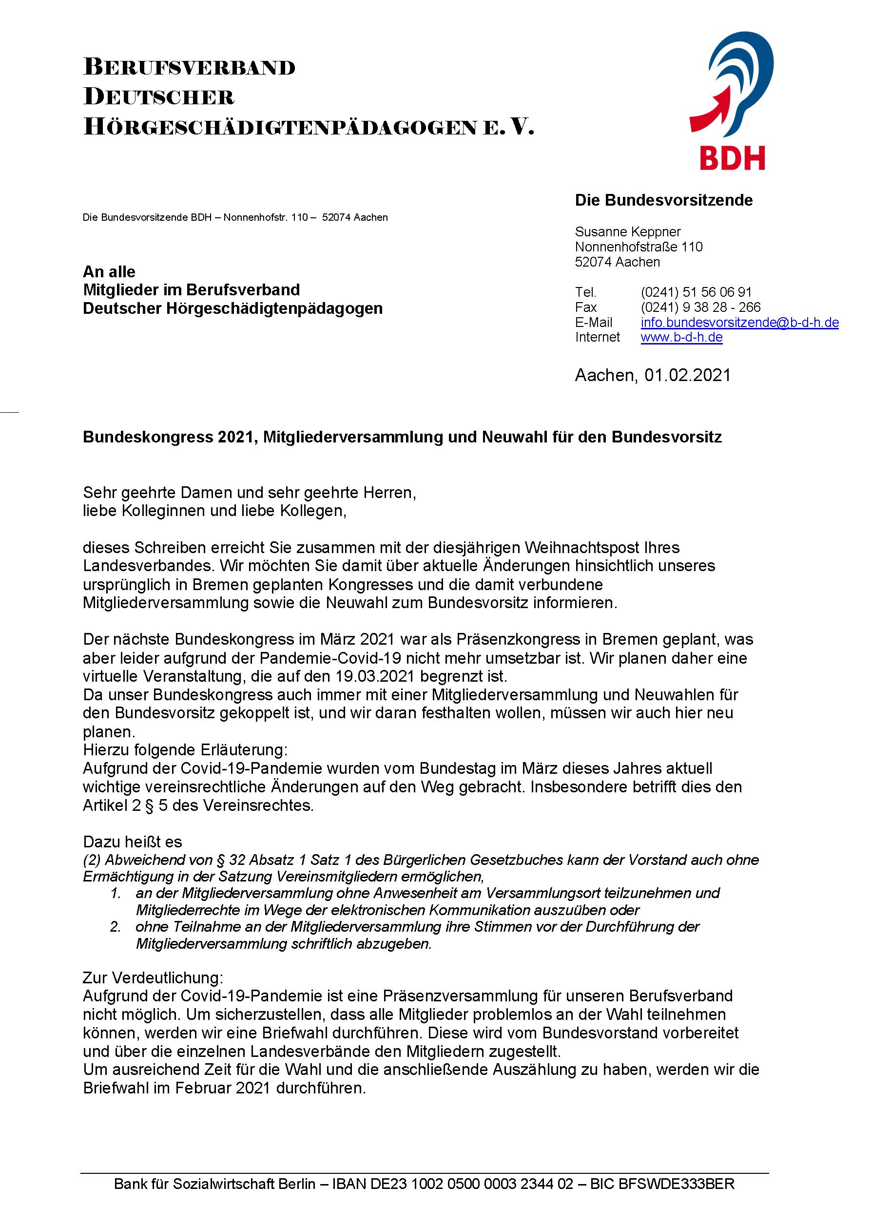 BDH-Bundeskongress 2021, Mitgliederversammlung und Neuwahl für den Bundesvorsitz